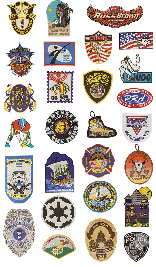 Custom Patches: Embroidered Police and Fire Department, Karate Patches